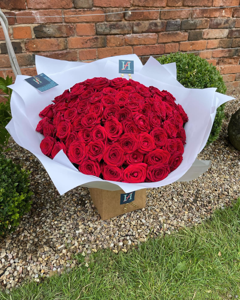 100 Red Roses from The Flower House at Hall Farm